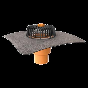 Receptor cu perete dublu TOPWET, cu flanșă din membrană bituminoasă, parafrunzar și ieșire verticală