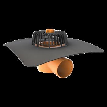 Receptor cu perete dublu TOPWET, cu flansa la comanda (EPDM, TPO, FPO, PE, STE – hidroizolatii lichide/pensulabile), parafrunzar si iesire orizontala
