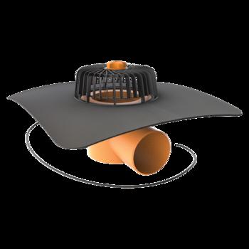 Receptor cu perete dublu TOPWET, cu degivrare 230V, flansa la comanda (EPDM, TPO, FPO, PE, STE – hidroizolatii lichide/pensulabile), parafrunzar si iesire orizontala