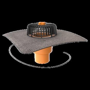 Receptor cu perete dublu TOPWET, cu degivrare 230V, flanșă din membrană bituminoasă, parafrunzar și ieșire verticală