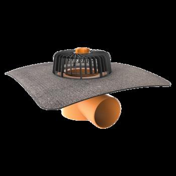 Receptor cu perete dublu TOPWET, cu flanșă din membrană bituminoasă, parafrunzar și ieșire orizontală