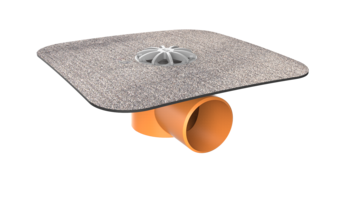 Receptor de balcon TOPWET cu flanșă din membrană bituminoasă, ieșire orizontală