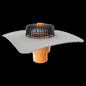 Receptor cu perete dublu TOPWET, cu flansa din membrana PVC, parafrunzar si iesire verticala