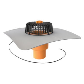 Receptor cu perete dublu TOPWET, cu degivrare 230V, flansa din membrana PVC, parafrunzar si iesire verticala
