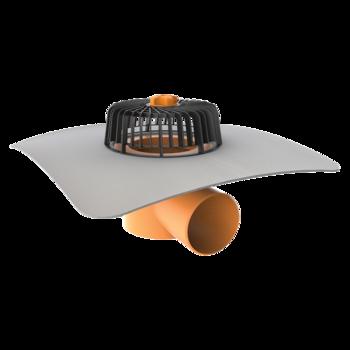 Receptor cu perete dublu TOPWET, cu flansa din membrana PVC, parafrunzar si iesire orizontala