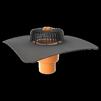 Receptor cu perete dublu TOPWET, cu flansa la comanda (EPDM, TPO, FPO, PE, STE – hidroizolatii lichide/pensulabile), parafrunzar si iesire verticala