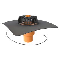 Receptor cu perete dublu TOPWET, cu degivrare 230V, flansa la comanda (EPDM, TPO, FPO, PE, STE – hidroizolatii lichide/pensulabile), parafrunzar si iesire verticala