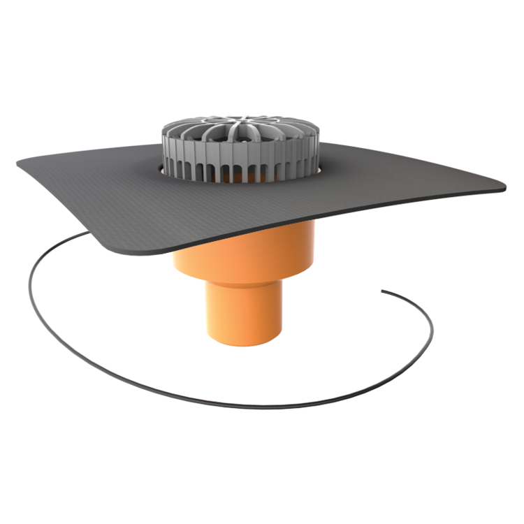 Receptor terasă TOPWET cu degivrare 230V, flanșă la comandă (EPDM, TPO, FPO, PE, STE – hidroizolații lichide/pensulabile)