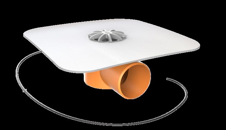 Receptor de balcon TOPWET cu flanșă la comandă (EPDM, TPO, FPO, PE, STE – hidroizolații lichide/pensulabile), degivrare 230 V, ieșire orizontală