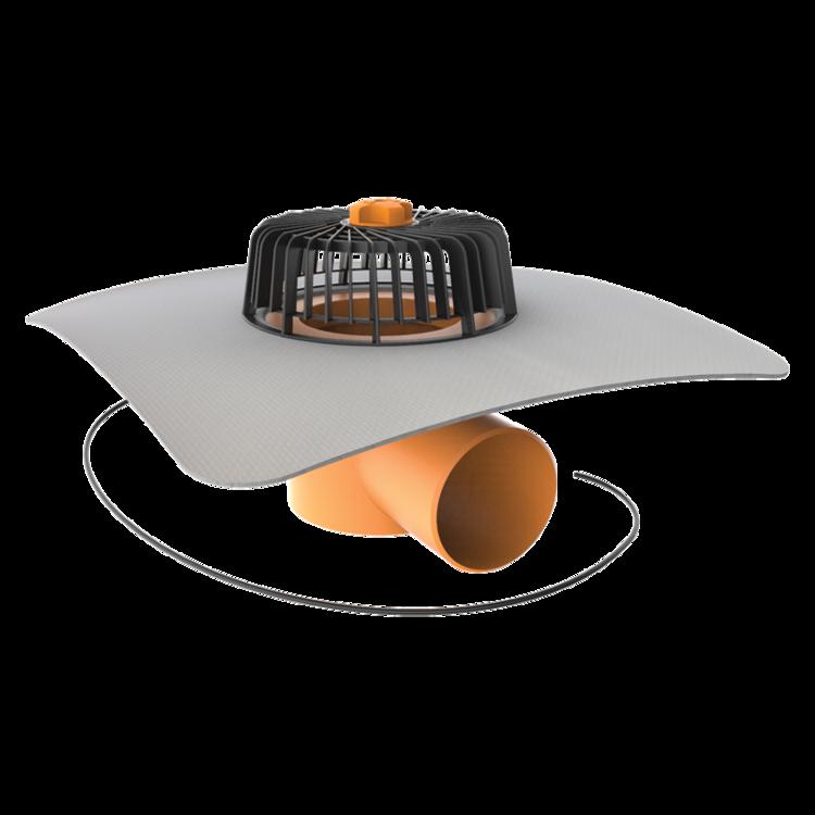 Receptor cu perete dublu TOPWET, cu degivrare 230V, flansa din membrana PVC, parafrunzar si iesire orizontala